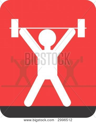 Illustration of a symbol of weightlifter in sports poster