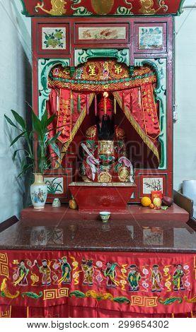 Hong Kong, China - March 7, 2019: Tai O Fishing Village. Closeup Of Side Shrine At Kwan Tai Taoist T
