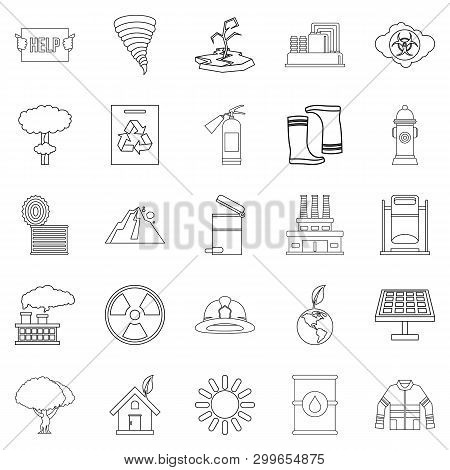 Catastrophic Event Icons Set. Outline Set Of 25 Catastrophic Event Icons For Web Isolated On White B