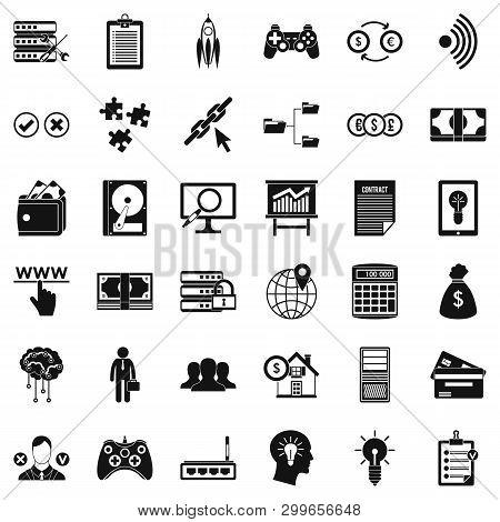 Organization Icons Set. Simple Style Of 36 Organization Icons For Web Isolated On White Background