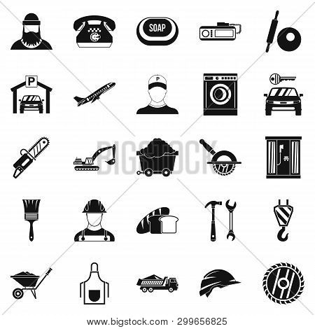 Working Progress Icons Set. Simple Set Of 25 Working Progress Icons For Web Isolated On White Backgr