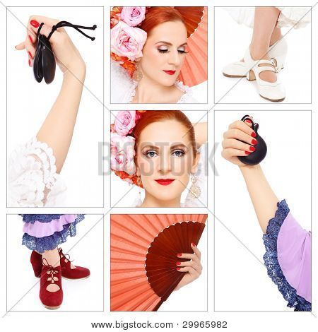 Collage with seven shots of flamenco accessories and dancer on white background. Passion, dance, entertainment.