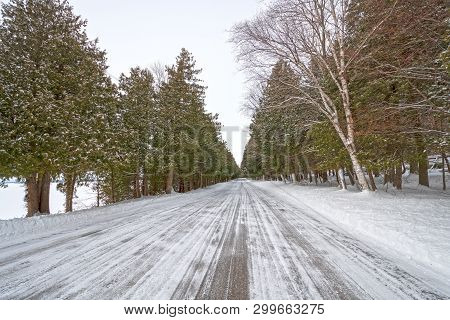 Lakeshore Road in the Winter in Peninsula State Park in Wisconsin poster