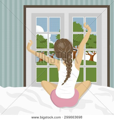 Woman Stretching In Bed After Wake Up. Concept For Holidays And Vacations. Summer Scenery. Flat Vect