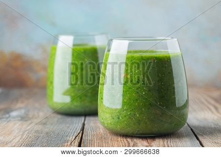 Green Fresh Healthy Smoothie With Fruits And Vegetables. Diet Detox Concept