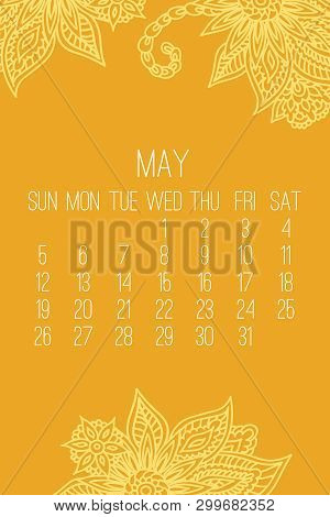 May year 2019 vector monthly calendar over yellow lacy doodle ornate hand drawn background, week starting from Sunday. poster