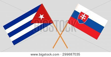 Cuba And Slovakia. The Cuban And Slovakian Flags. Official Colors. Correct Proportion. Vector Illust