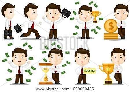 A Vector Set Of Successful Businessman That Makes So Much Money And Awards