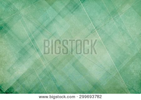 Abstract Green Background With Layers Of White Diamond And Triangle Shapes With Random Lines And Scr