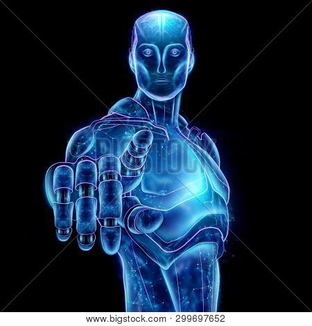 Hologram Of A Robot Head, Artificial Intelligence On A Black Background. Concept Neural Networks, Au