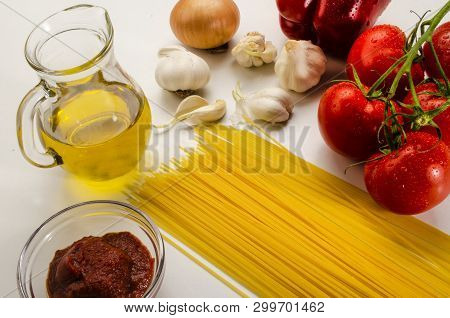 Ingredients To Make A Delicious Home Made Tomato Sauce With Spaghetti