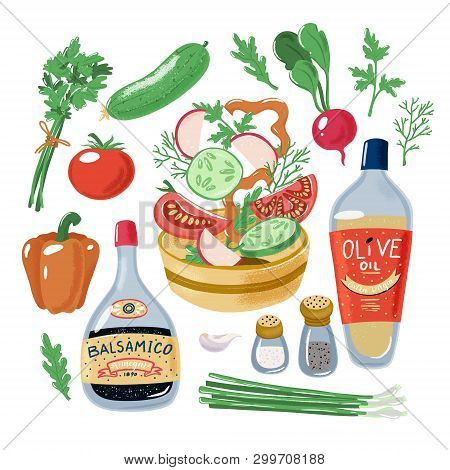 Salad Recipe, Tomato Bell Pepper Radish Cucumber Falling In Bowl Surrounded By Vegetables Herbs Oliv