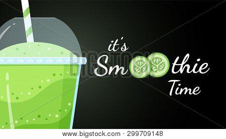 Green Smoothie Cucumber Logo Flat Vector Illustration. Smoothie Logo On Black Background, Glass Fill