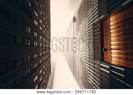 NEW YORK CITY - NOV 12: Downtown skyscrapers in a foggy day on November 12, 2014 in Manhattan, New York City. With population of 8.4M, it is the most populous city in the United States.