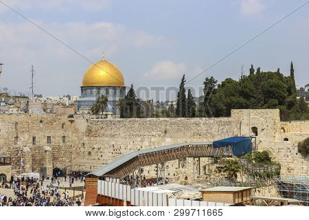 Jerusalem Israel: Jewish Hassidic Prayer At The Western Wall, Western Wall The Place Of Crying Is An