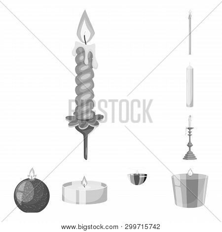 Vector Illustration Of Paraffin And Fire  Icon. Collection Of Paraffin And Decoration    Stock Symbo