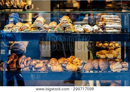 Delicious Fresh Sandwiches And Sweet Croissants And Buns On The Bakery Display