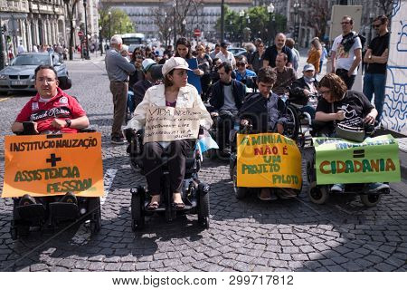 PORTO, PORTUGAL - MAY 5, 2019: Manifesto Marcha pela Vida Independente (the march of disabled people) Demanding compliance with rights in terms of personal assistance, housing, employment, education