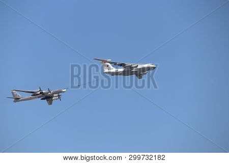 Moscow, Russia - May 2019: Air Tanker Ilyushin Il-78 Midas And Turboprop Powered Bomber Tu-95 Bear S
