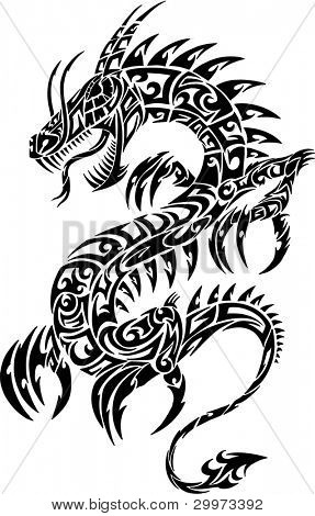 Dragon Tattoo Iconic Tribal Vector Illustration Art