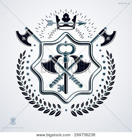 Classy Emblem Made With Laurel Leaf Decoration, Armory And Crown Symbol. Vector Heraldic Coat Of Arm