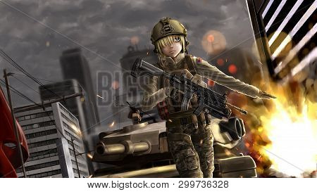 Cute Anime Girl With Gun And In Army Uniform