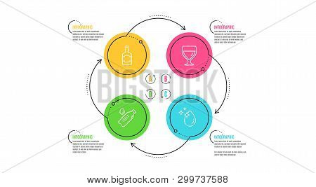 Whiskey Bottle, Water Bottle And Wine Glass Icons Simple Set. Infographic Timeline. Water Drop Sign.