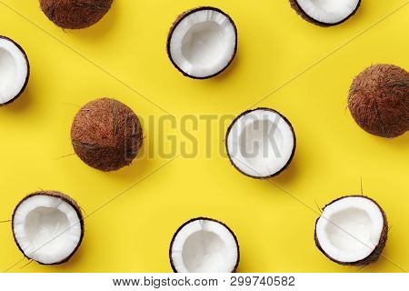 Pattern With Ripe Coconuts On Yellow Background. Pop Art Design, Creative Summer Concept. Banner. Ha