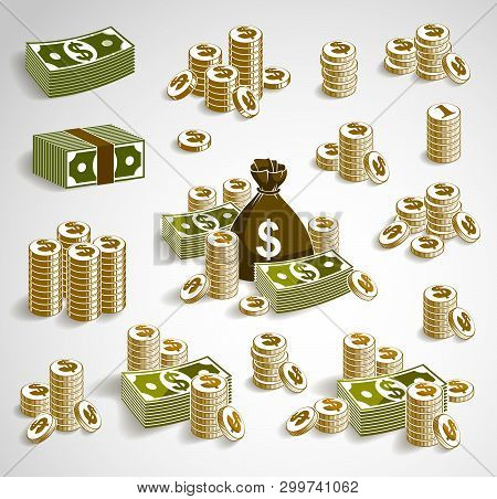 Cash Money Set Still-life With Moneybag Bag Coins And Banknote Dollar Stack, Classic Style Vector Il