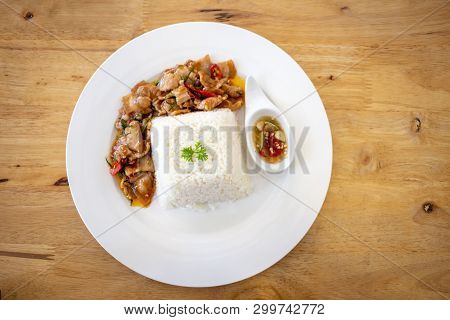 Spicy Fried Pork Thai Food With Herb Serve