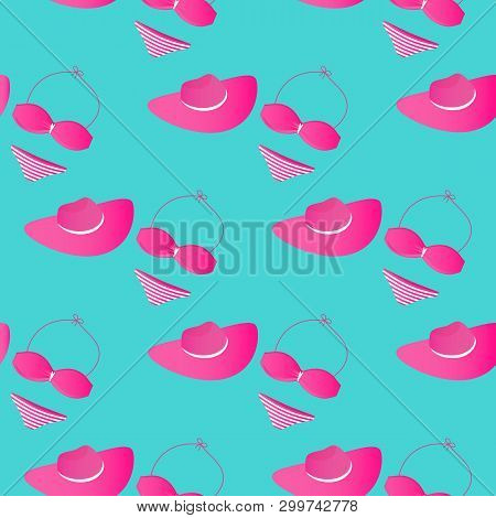 Womens Swimsuit And Wide-brimmed Hat. Accessories For Summer Beach Holidays. Seamless Pattern