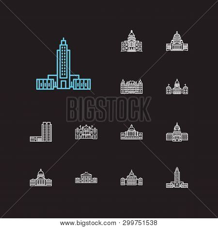 Landmark Icons Set. Congress And Landmark Icons With Government, Cityscape And Architecture. Set Of
