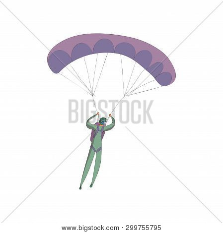 Skydiver In A Green Suit Soars On An Open Purple Parachute. Vector Illustration On White Background.