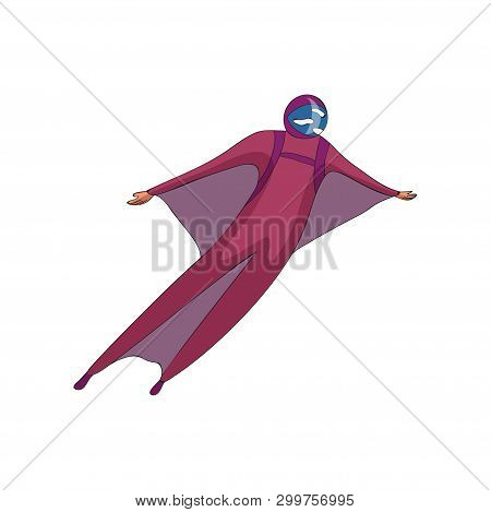 Skydiver Soars In A Purple Helmet And A Suit With Wings. Vector Illustration On White Background.