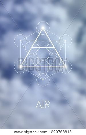 Sacred Geometry Air Element Symbol Inside Metatron Cube And Flower Of Life In Front Of Natural Blurr