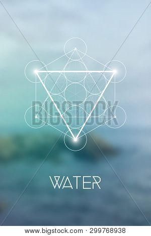 Sacred Geometry Water Element Symbol Inside Metatron Cube And Flower Of Life In Front Of Natural Blu