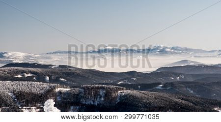 Beskid Zywiecki With Babia Gora And Pilsko Hills From Lysa Hora Hill In Moravskoslezske Beskydy Moun