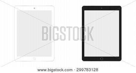 Table Ipad In White And Black Color Vector Eps10. Tablet Flat Style. Two  Tablet White And Black.
