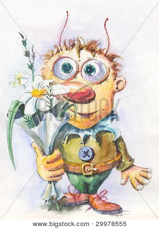 Character Boy With Flowers