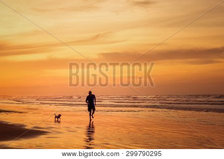 Silhouette Of Man Running With Small Dog In The Beach In Sunset Time