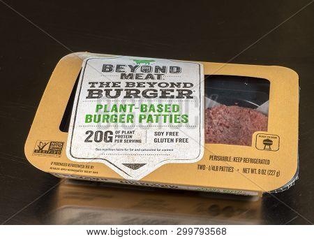 Morgantown, Wv - 6 May 2019: Packaging For Beyond Meat Beyond Burgers On Steel Background