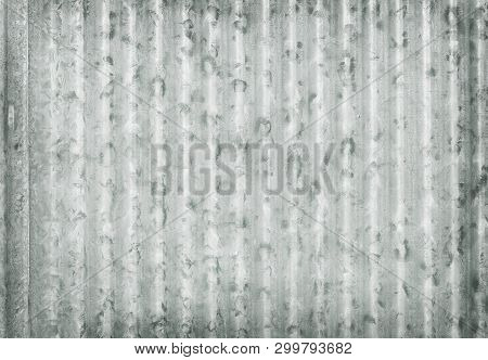 Corrugated Metal Galvanized Wall Plate Texture Background, Old Zinc Surface Pattern.