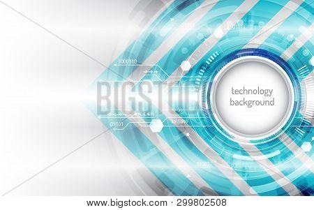 Hi-tech Digital Technology Concept. High Computer Technology On Grey Background.  Abstract Futuristi