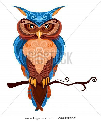 Vector Illustration Of A Colorful Cute Owl In Tatoo Style With Ethnic Ornaments
