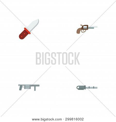 Set Of Gaming Icons Flat Style Symbols With Gun, Infantry Knife, Gatling Gun And Other Icons For You