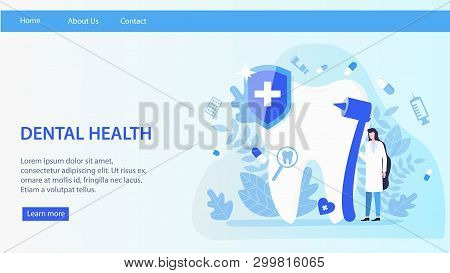 Woman Dentist Work Dental Health Vector Illustration. Female Professional With Stomatology Drill Ins