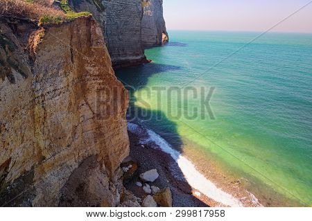 Picturesque Landscape On The Cliff Of Etretat, Cliff And Beach. Coast Of The Pays De Caux Area In Su