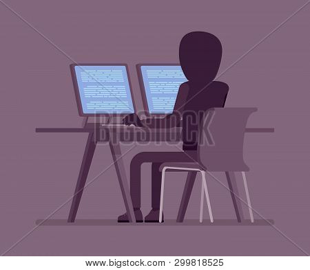 Anonymous Man With Hidden Face At Computer. Hacker Dark Body, Covered With Hood, Online Person Not I