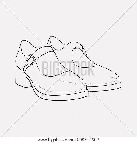 Mary Janes Icon Line Element.  Illustration Of Mary Janes Icon Line Isolated On Clean Background For