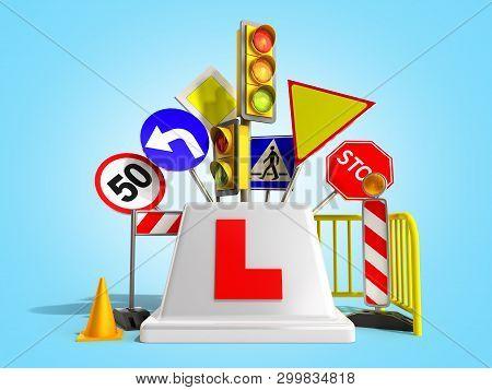 Concept Of Driver School Logo Road Signs Traffic Lights Fencing 3d Render On Blue Gradient